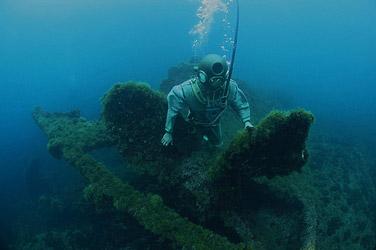 travail sous marin d'un scaphandrier